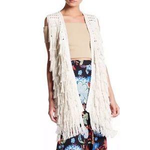 Alice + Olivia Weiss Silk Blend Fringe Vest